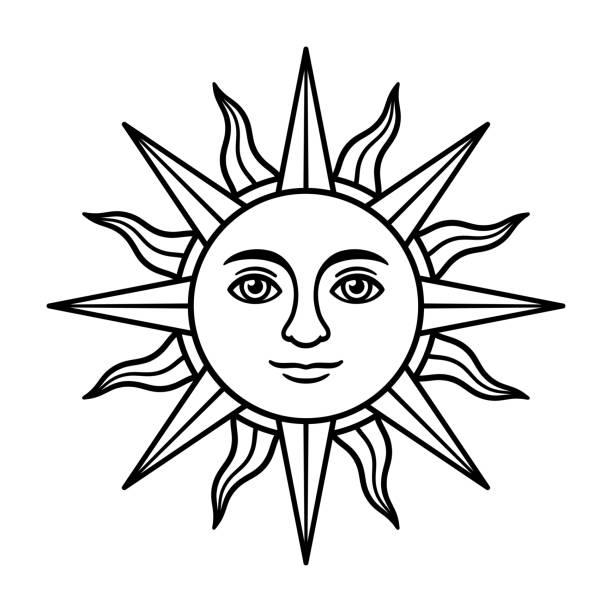 ilustraciones, imágenes clip art, dibujos animados e iconos de stock de sol vintage con cara - tatuajes del sol