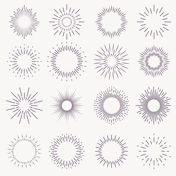 bildbanksillustrationer, clip art samt tecknat material och ikoner med vintage sunburst. spricker strålar sol uppgång fyrverkverk starburst blast burst solnedgång stjärna ljus stråle strål ande gnista hand dras, vektor set - sun