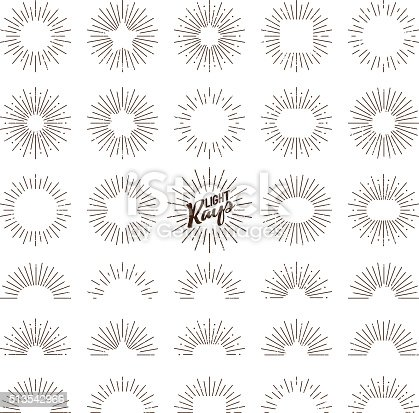 A set of different aged retro vintage sunburst/starburst icons. The lines are grungy and weathered to look older. Includes 8 full circular designs then 8 half circle icons. Each starburst is coloured dark brown and is on a transparent background so you can place them onto any color.