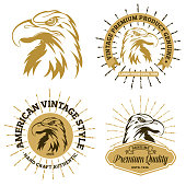 Vector Illustration with a collection of Vintage Sunburst Eagle Clip Art