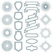 Vintage sunburst frames, ribbon banners and labels vector elements in art deco style. Sunburst and ribbon badge label, vintage ray frame illustration