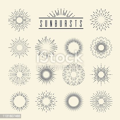 Vintage sunburst. Hand drawn geometric sunrise firework sunset blast sunbeam burst sunshine sun ray shape decorative retro vector set