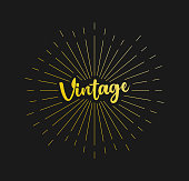 Vintage. Sunburst Line Rays. For Greeting Card, Poster and Web Banner. Vector Illustration, Design Template.