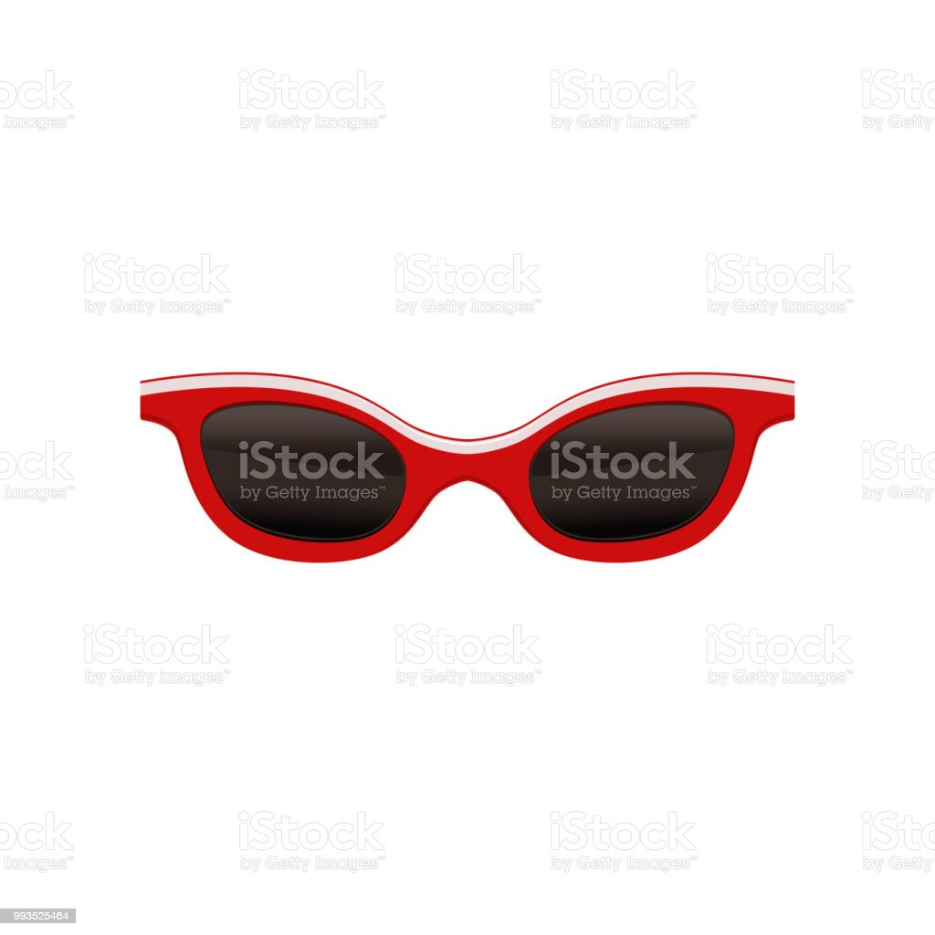 bb05525d92 Gafas de sol vintage con marco rojo y lentes negras. Gafas de moda para  temporada