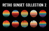 istock Vintage sunset collection in 70s 80s style. Regular and distressed retro sunset set. 1297599740