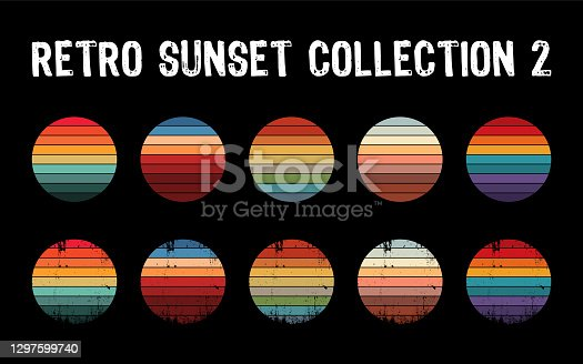 Five options with textured versions. Circular gradient background. T shirt design element. Vector illustration,flat