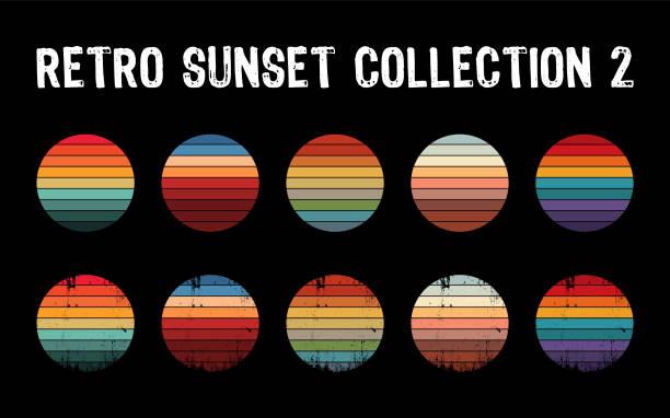kolekcja vintage zachód słońca w stylu lat 70-tych 80-tych. regularne i trudnej sytuacji retro zachód słońca zestaw. - zachód słońca stock illustrations