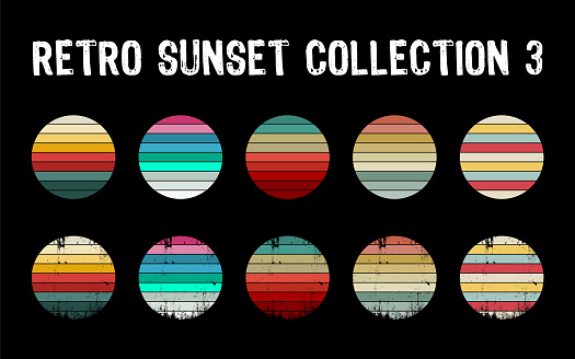 Vintage sunset collection in 70s 80s style. Regular and distressed retro sunset set.
