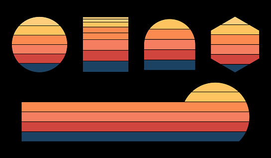 Vintage sunset set with different shapes. Retro sunset collection 70s 80s style.