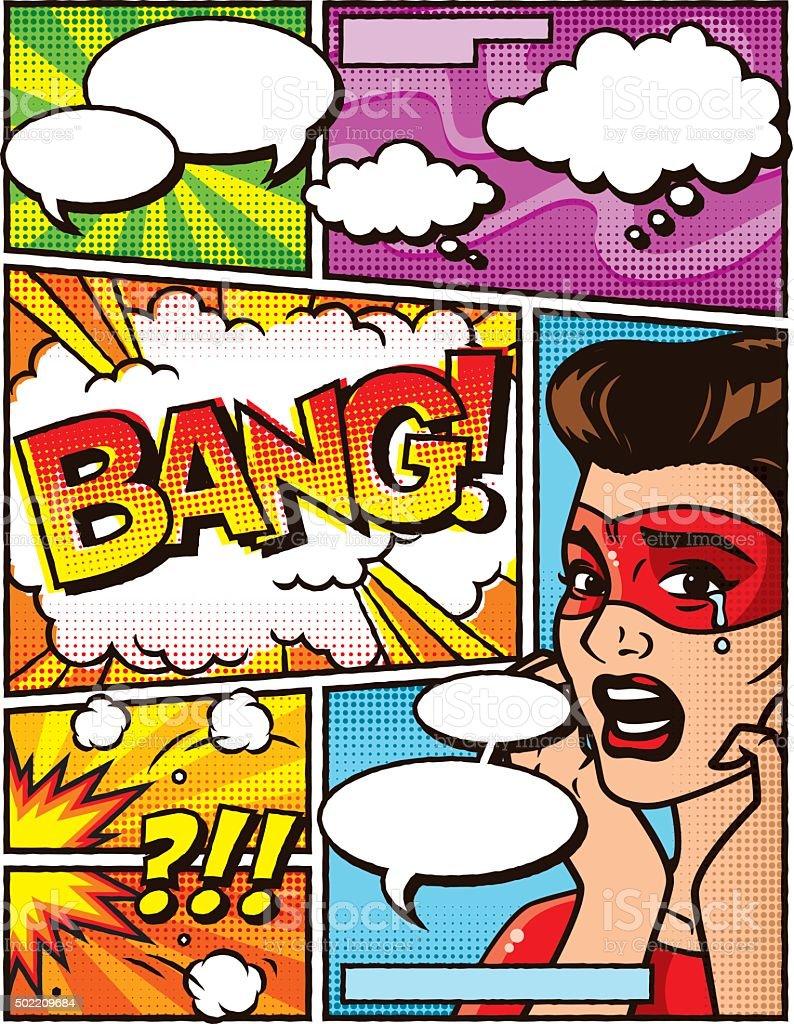 Vintage Superhelden Comiclayoutvorlage Stock Vektor Art und mehr ...