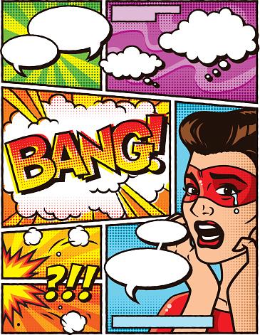 Vintage Superhero Comic Book Layout Template