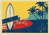 hawaiian classic retro postacrd. plain colors