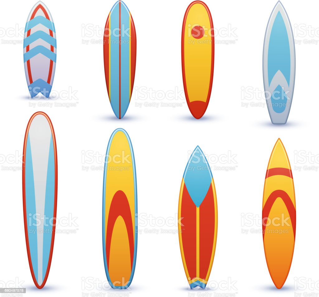 Vintage surfboards with cool graphic design vector set vector art illustration