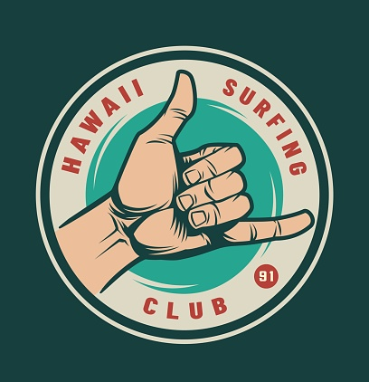 Vintage surfing club logotype with male hand showing surfer shaka sign isolated vector illustration