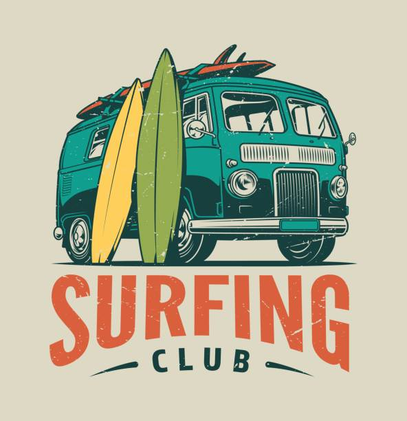Vintage surfing colorful template Vintage surfing colorful template with summer travel van and surfboards isolated vector illustration surf stock illustrations