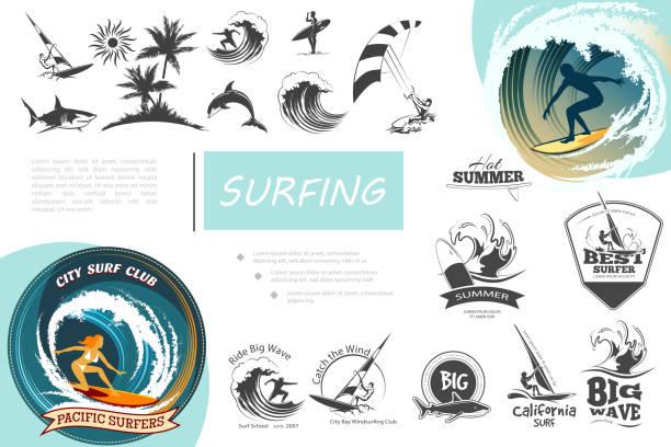 Vintage Surfing Elements Set Vintage surfing elements set with windsurfing surf van sea waves kitesurfing palm trees shark dolphin and monochrome surfing emblems vector illustration surfing stock illustrations
