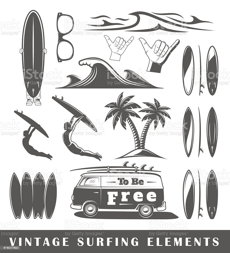 Vintage surfing elements vector art illustration