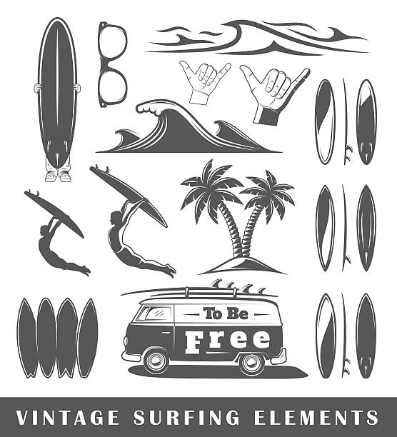 Vintage surfing elements Set of silhouettes of a surfing, isolated on a white background surf stock illustrations