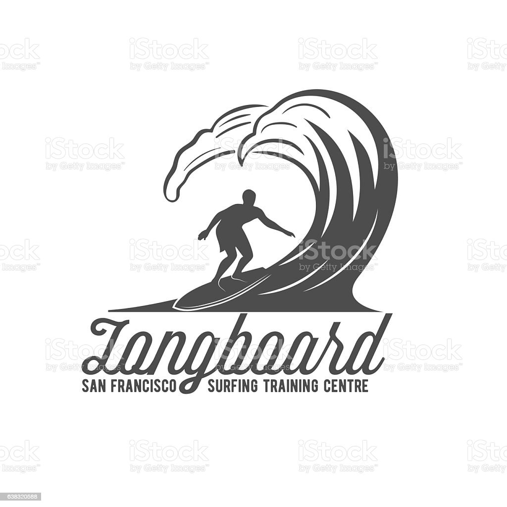 vintage surfing label, badge and emblem vector art illustration
