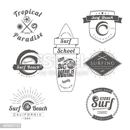 Collection of Vintage Surfing Graphics,Labels, Badges and Design elements