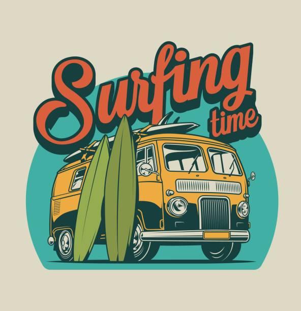 illustrations, cliparts, dessins animés et icônes de concept coloré de temps de surf vintage - surf