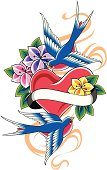 vintage swallow and flower emblem