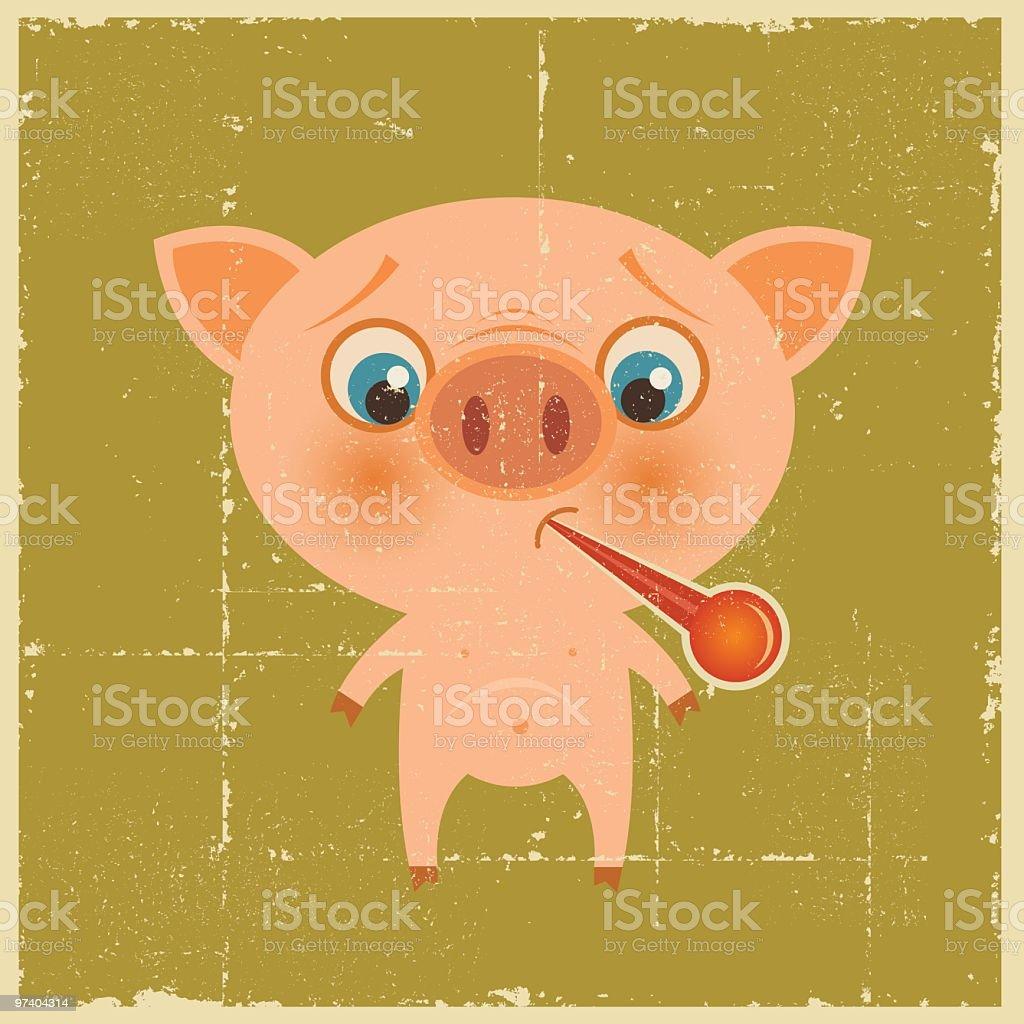 Vintage Swine Flu royalty-free stock vector art