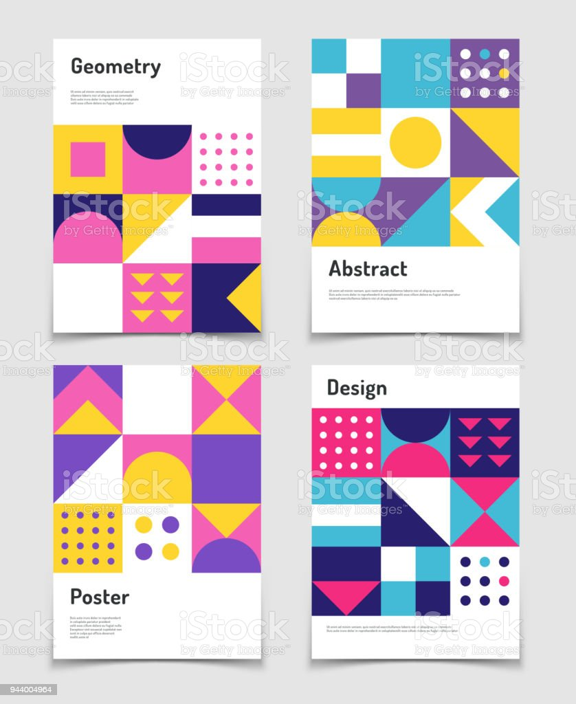 Vintage swiss graphic, geometric bauhaus shapes. Vector posters in minimal modernism style - Royalty-free Abstrato arte vetorial