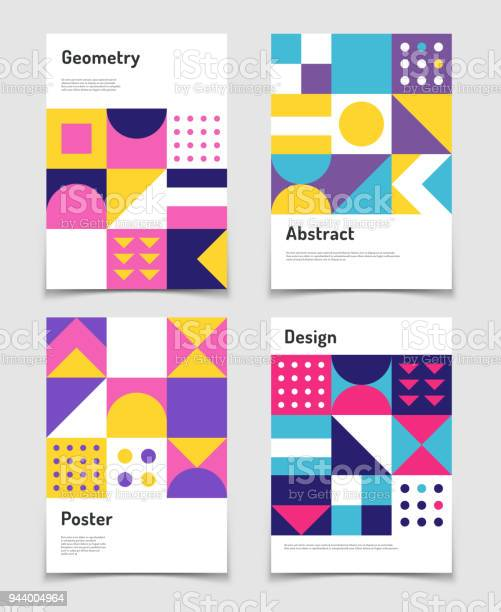Vintage Swiss Graphic Geometric Bauhaus Shapes Vector Posters In Minimal Modernism Style - Arte vetorial de stock e mais imagens de Abstrato