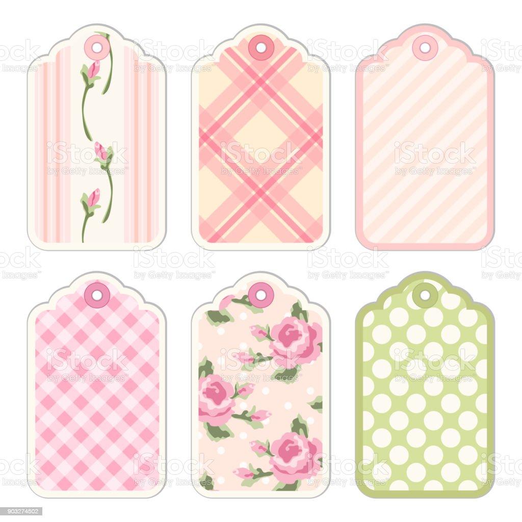 Ilustración de Etiquetas Vintage Con Rosas En Shabby Chic Estilo ...