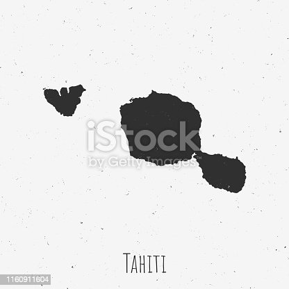 Black and white Tahiti French Polynesia map in trendy vintage style, isolated on a dusty white background. A grunge texture is used to have a retro and worn effect. His name is written on the bottom of the image. Vector Illustration (EPS10, well layered and grouped). Easy to edit, manipulate, resize or colorize.