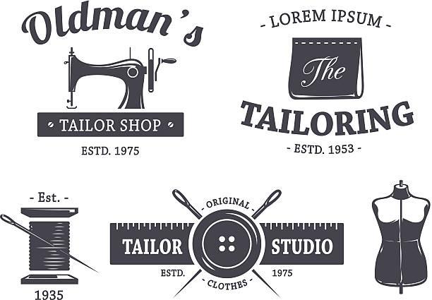 illustrazioni stock, clip art, cartoni animati e icone di tendenza di logo vintage sarto - tailor working