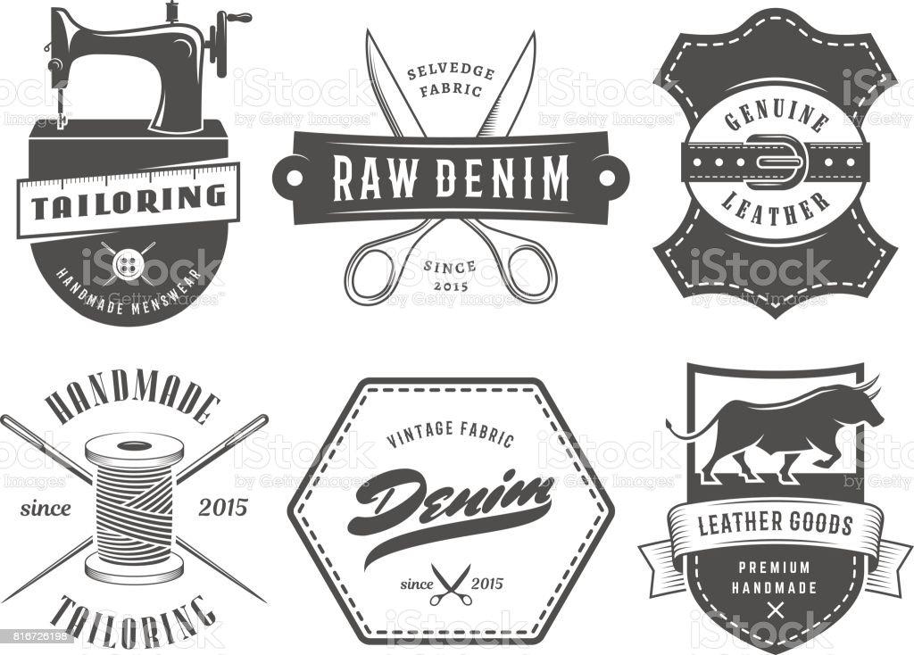 Vintage tailleur étiquettes de denim. - Illustration vectorielle