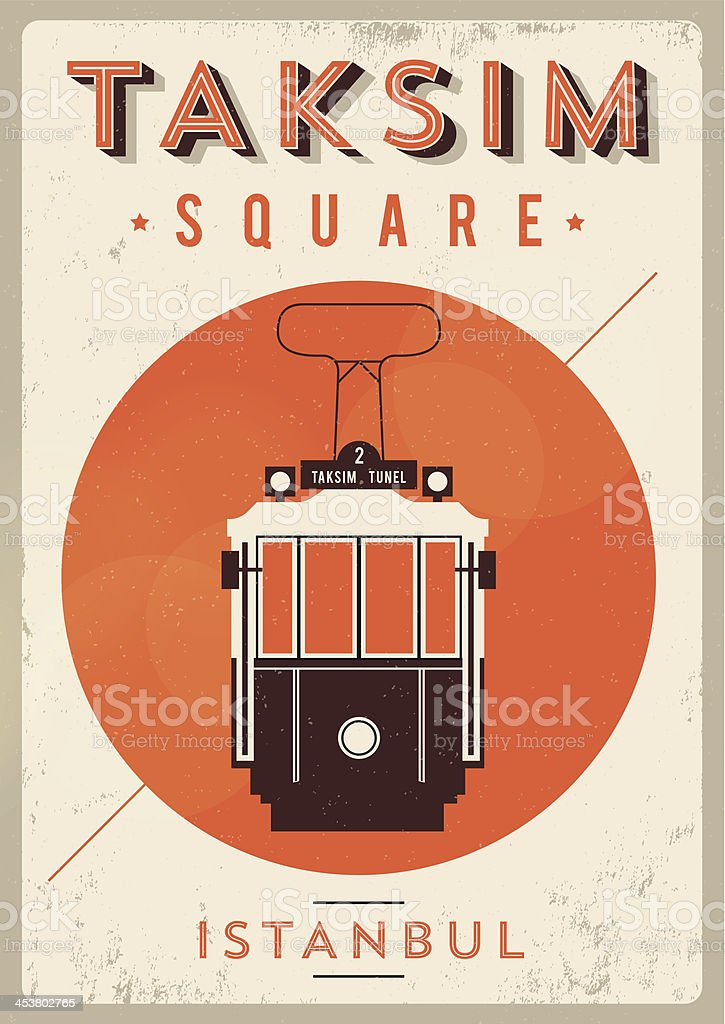 Vintage Taksim Square - Istanbul Poster vector art illustration
