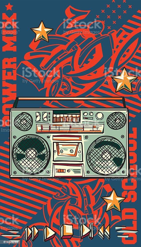 Vintage tape recorder on graffiti background vector art illustration