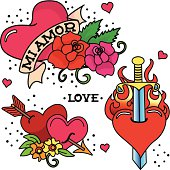 Vintage style tattoos of hearts. Retro style popular in the 40's and 50's. Cool elements for you design. 300 dpi jpg included.