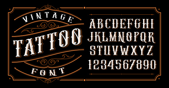 Vintage tattoo font. Font for the tattoo studio logos, alcohol branding, and many others in retro style.