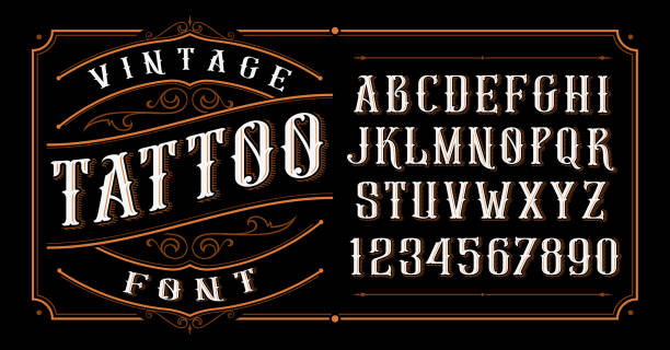 Vintage Tattoo Font. Vintage tattoo font. Font for the tattoo studio logos, alcohol branding, and many others in retro style. alphabet designs stock illustrations