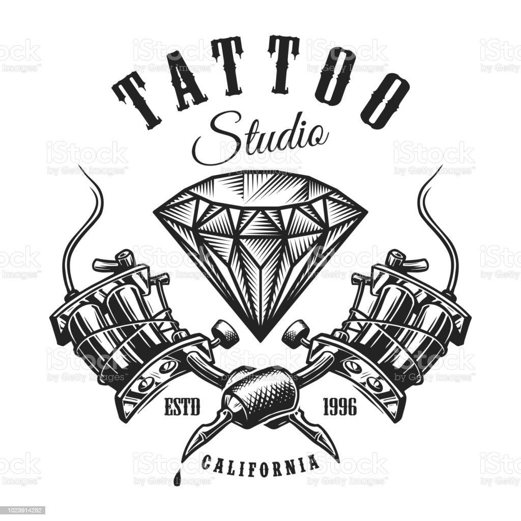 Vintage tattoo monochrome label vector art illustration