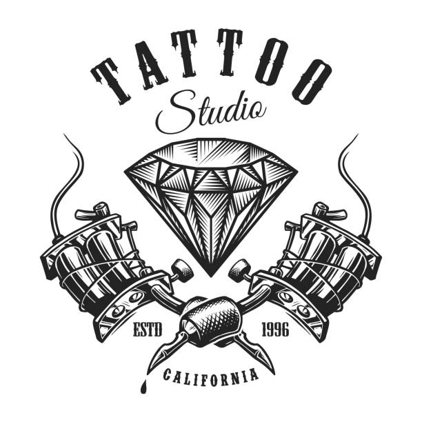 illustrations, cliparts, dessins animés et icônes de étiquette monochrome vintage tatouage - tatouages diamants