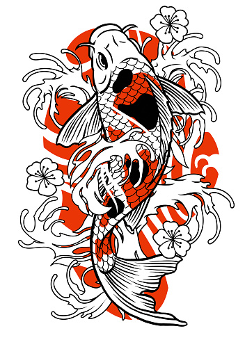 vector of vintage tattoo of koi fish design