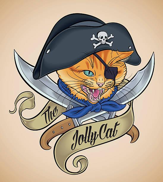 illustrations, cliparts, dessins animés et icônes de vintage carrousel du jolly chat - tatouages marins