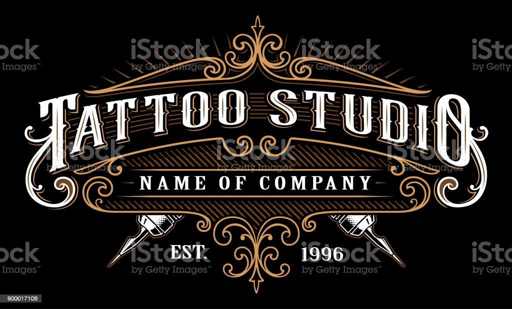 Vintage tattoo studio emblem_2 (for dark background) vector art illustration