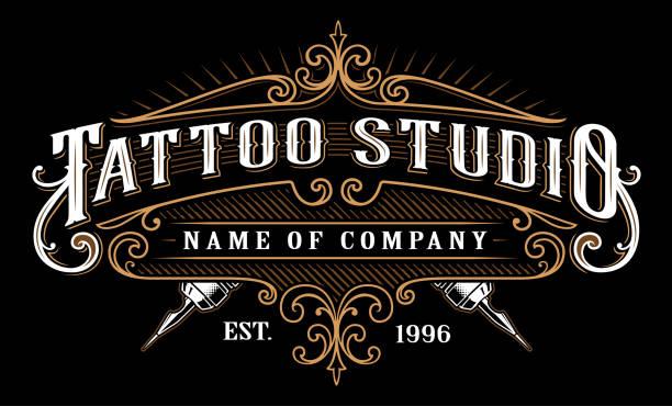 illustrations, cliparts, dessins animés et icônes de emblem_2 studio tatouage vintage (pour fond foncé) - tatouage