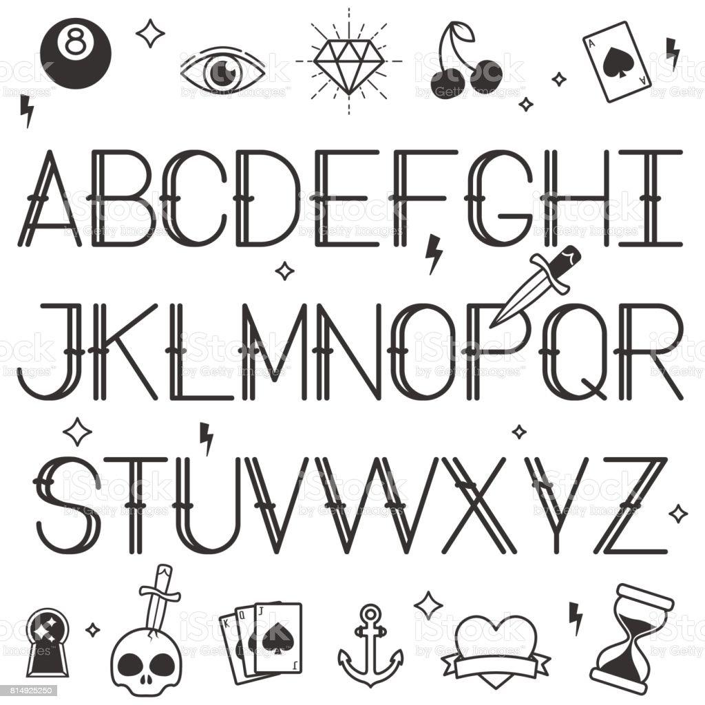 Vintage Tattoo Stil Alphabet In weißem Hintergrund – Vektorgrafik