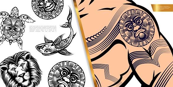 Vintage Tattoo Symbols Concept