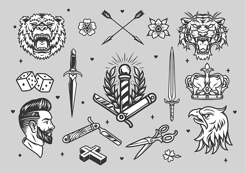 Vintage tattoos monochrome set