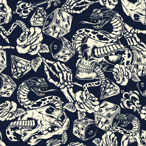 Vintage tattoos seamless pattern Vintage tattoos seamless pattern with skeleton hand holding rose antique key dice diamond snake entwined with human and cat skulls in monochrome style vector illustration snakes tattoos stock illustrations