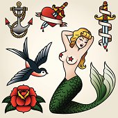 Vintage Tattoo-Style Icon Set