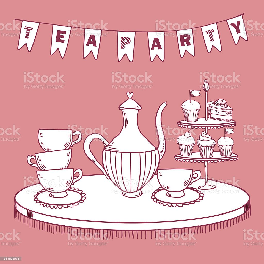 Vintage Tea Party Invitation Stock Vector Art More Images Of Adult